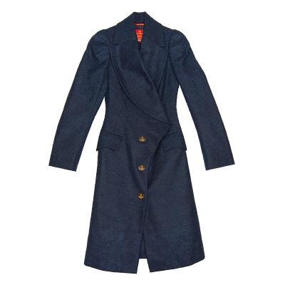 wide lapel dressy coat navy